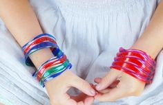 Water Bottle Bangles for kids to make #kids #craft #bracelet