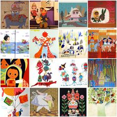 a collage of Mary Blair art