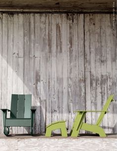 Eco-friendly Adirondack chairs from Design Within Reach. Love that hunter green. extérieur, adirondack chairs, backyard project, deck furniture, green, diy furnitur, adirondack collect, rock chair, collect design