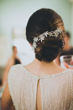 sparkly hairpiece in classic updo