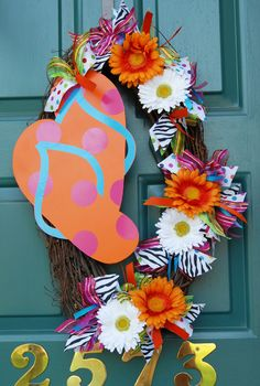Summer Wreath with Metal Flip-Flops.