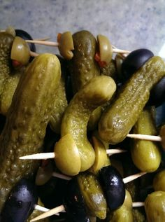 Kosher Petite Pickles and olives. Bachelorette party food.