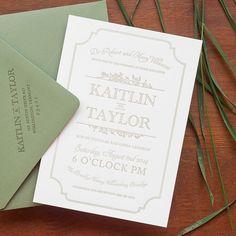 Green and Brown Letterpress Urban Winery #Wedding Invitations: http://ohsobeautifulpaper.com/2014/09/kaitlin-taylors-urban-winery-wedding-invitations/ | Design + Photo: Christa Alexandra Designs