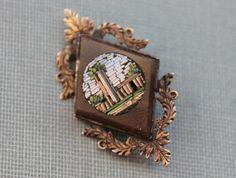 Georgian Roman Micro Mosaic Gold Stone Brooch