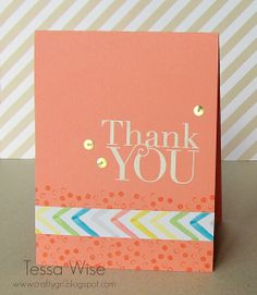 Crisp Cantaloupe Thank You Card. By Tessa Wise. Happy Watercolor stamp set. Stampin' Up! Occasions Catalogue.