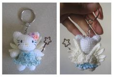 Crochet hello kitty angel keychain