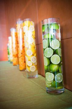 citrus centerpieces grapefruit party theme orange lemon lime tangerine yellow green decor by ollie