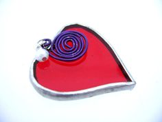 Valentines Day Red Hearts Stained Glass by GothicGlassStudio, $18.00