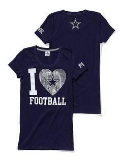 Dallas Cowboys PINK I Love Football Tee