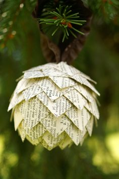 Pinecone Christmas Ornament- Ornament made from dictionary pages, ball shaped ornament, upcycled paper ornament. $10.00, via Etsy.