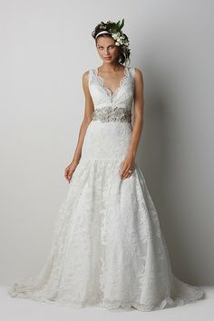 Ivory Lace V-Neck Bridal Gown