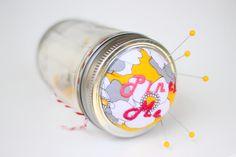 Canning jar pin cushion tutorial