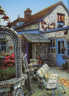 Here is a non-cordwood inspirational photo from Truth Beckons FB page. It is called Tiddu: The Broken Crockery House: A Mosaic House and Garden! Some of the stone and glass motifs could be incorporated into many natural homes including cordwood. www.cordwoodconstruction.org