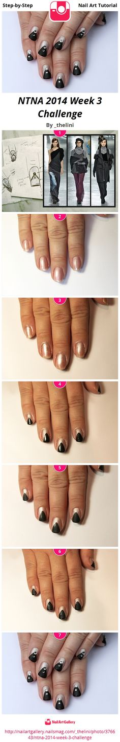 This week we were asked to create an L.A. themed French manicure. I chose to represent the style seen in the Rodarte (an L.A. based designer) Fall/Winter collection. I wanted something that could easily be seen on a celebrity on the red carpet or a coworker at the office. This design easily transitions from fun to glam and is inspired by many of the angular lines seen in the Rodarte collection, with multi tonal grey-black and a hint of sparkle.