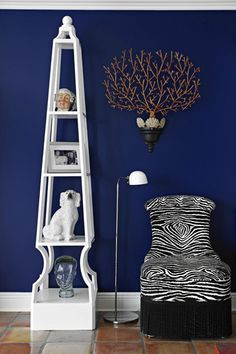 Living Space by Carleton Varney featuring Kindel Furniture's zebra print Slipper Chair from the Dorothy Draper Collection