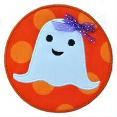 Embroidery Machine Applique Design - Ghost on Circle Patch - 3 Sizes - Halloween - Ghost Applique Design