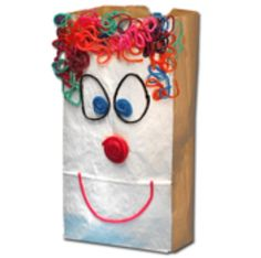 Crafts kids will love clowns on a paper bag