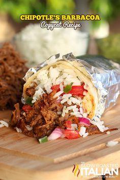 Chipotle's Copycat Barbacoa from theslowroasteditalian.com #recipe #dinner