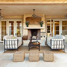 Play up patterns to add excitement to an outdoor space. More ideas for outdoor furniture: http://www.bhg.com/home-improvement/porch/outdoor-rooms/outdoor-furniture-and-fabric-ideas/?socsrc=bhgpin041413strippedpatiofurniture=9