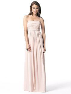 Dessy bridesmaids chiffon strapless great blush color