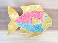 Yellow Fish Spoon Rest Trinket dish Handmade Ceramic by artsylois,