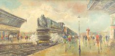 """AGUILLAR NAVARRO - (1917 - 1983)    Título: """"Paris""""  Técnica: óleo sobre tela  Medidas: 60 x 120 cm  Assinatura: canto inferior direito e dorso"""