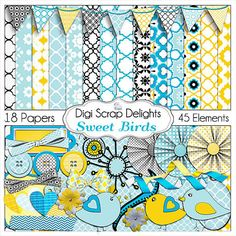 Sweet Birds Digital Scrapbook Kit in Blue and by DigiScrapDelights