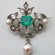 Antique Georgian Sterling Silver Emerald Paste Pearl Dangle Drop Brooch Pin