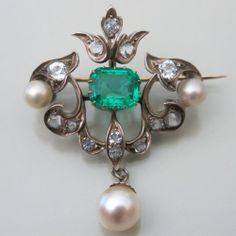 Antique Georgian Sterling Silver Emerald Paste Pearl Dangle Drop Brooch Pin
