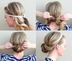 NEED TO TRY THIS -. Easiest hairstyle ever. I curl mine before I style it though - makes it so much easier to flip into the headband,
