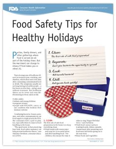 Food Safety Tips for Healthy Holidays - from the FDA