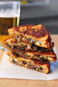 Mushrooms, Onions, and Gouda Grilled Cheese