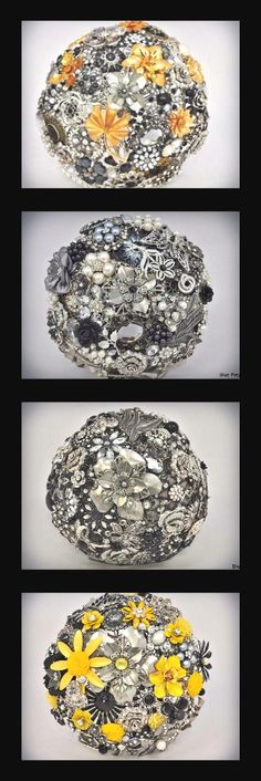 Old Hollywood Brooch Bouquet made four different ways ... by Blue Petyl ...  #wedding #broochbouquet #bluepetyl #vintage