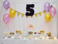 Lovely backdrop and dessert table at a Little Princess girl birthday party!  See more party ideas at CatchMyParty.com!