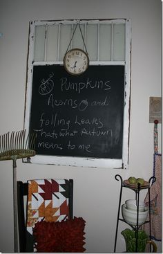 Love the window chalkboard with the Fall quote (from Have a Daily Cup of Mrs. Olson)