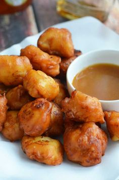 Maple Waffle Chicken Nuggets.  These chicken nuggets are coated in maple-y waffle batter and served with a honey maple mustard dip.