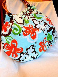Hawaiian Bag Purse Tote with Bamboo Handles  by KaeArtworks,