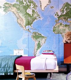 6 Smart Ways To Let Your Child Personalize Their Space // map wallpaper, boy's room, kids furniture, stool