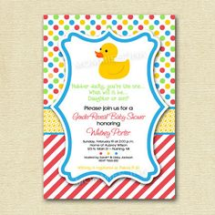 Rubber DuckyYou're The OneGender Reveal Baby Shower by MommiesInk, $12.50