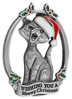 Meowy Christmas Cat Pin .. Every Purchase Funds Food and Care for Rescued Animals. This funds 14 bowls of food .... So Cute
