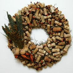 Everyday wine cork wreath with dried floral accents