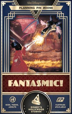 Fantasmic! takes you into the colorful imagination of Mickey Mouse as the Sorcerer's Apprentice. Join Mickey as he invokes the characters and spirit of such favorite Disney classics as:  Beauty and the Beast, Sleeping Beauty, Peter Pan, The Little Mermaid, Cinderella, Aladdin and  The Lion King