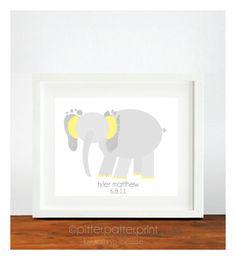 Im so doing this!!!  Elephant Nursery Decor Baby Footprint Art  by PitterPatterPrint, $35.00