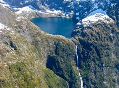 Browne Waterfall, New Zealand    Some people argue that New Zealand's highest waterfall is not the Sutherland but the Browne Falls, which drop 836 meters into Doubtful Sound. But as this aerial view shows, they are more of a cascade, largely in contact with the rock, rather than free falling.