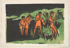 Ernst Ludwig Kirchner (German, 1880–1938). Bathers Throwing Reeds, 1909. The Metropolitan Museum of Art, New York. Janet Lee Kadesky Ruttenberg Fund, in honor of Colta Ives, 2012 (2012.201)