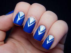 Blue V Tape Manicure chalkboard nail, chalkboards, challenges, tape manicur, manicures, nails, tapes, blog, blues