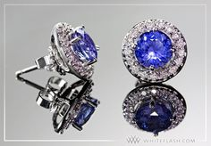 Sapphire Studs with Diamond Earring Jackets by Whiteflash.com