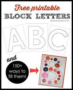 Free printable block letters from A-Z!  Plus, ways to fill them that start with each letter.  Great resource! abc printables, letter a preschool, letter a printable, preschool ideas, printable alphabet letters, preschool alphabet printables, alphabet letter printable, block letter, preschool printables free
