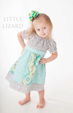 Elizabeth Claire Peasant Dress by Little Lizard King, sizes 6 mo to girls' 8