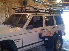 My jeep with the new roof rack I built.